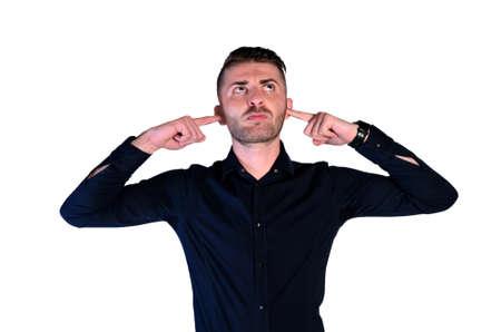 ignorance: young man ignorance noise on white background Stock Photo
