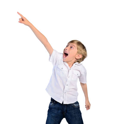 young child boy pointing on white background