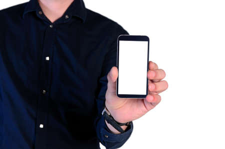 young man showing phone on white background photo