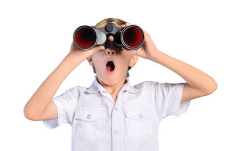 young child boy with binocular on white background