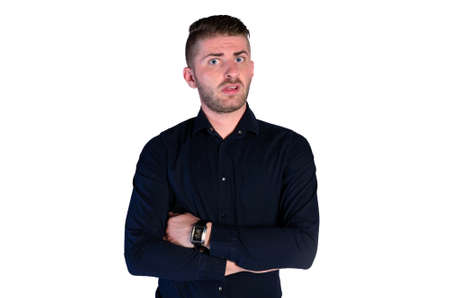 irritated: isolated irritated young man standing