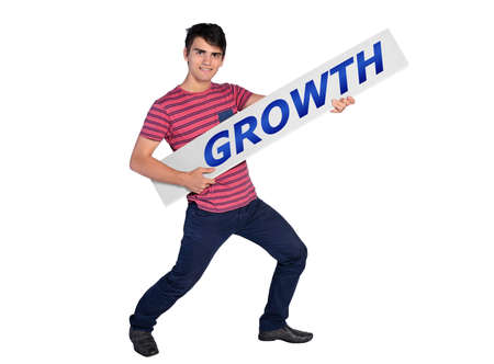young man showing growth banner photo