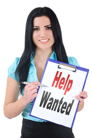 isolated girl showing clipboard with help wanted photo