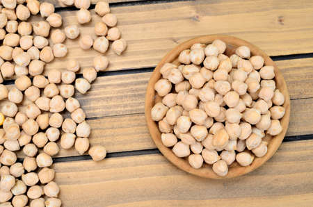 chickpea on wooden table