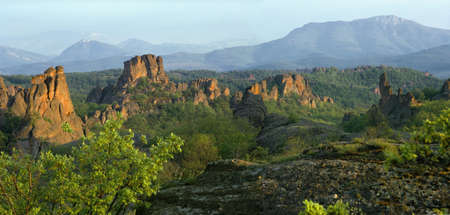 travelled: Belogradchik rocks, sunset, Bulgaria, Balkans Stock Photo