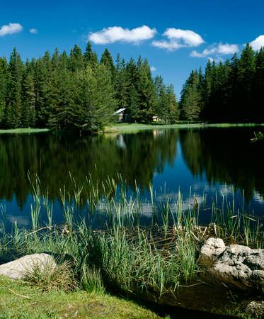waterscape: Shiroka Polyana lake in Rhodopi mountain, Bulgaria, Balkans, European waterscape