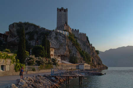 middle ages boat: The castle of Malcesine on Lake Garda