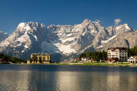 View over the Lago di Misurina in the Dolomites photo