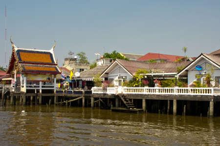chao praya: Pier in Bangkok on the Chao Praya Stock Photo