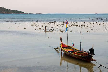 tranfer: Long tail boat on the beach in Krabi Stock Photo