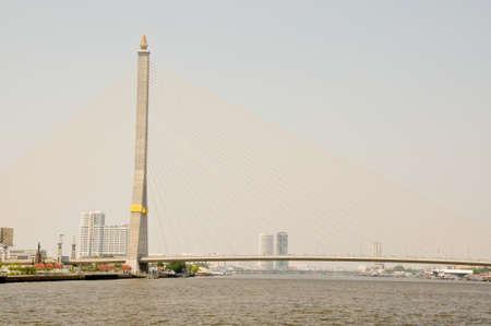 rama: Rama VIII Bridge in Bangkok Stock Photo