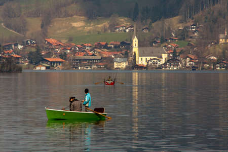 Anglers fishing on the Schliersee photo