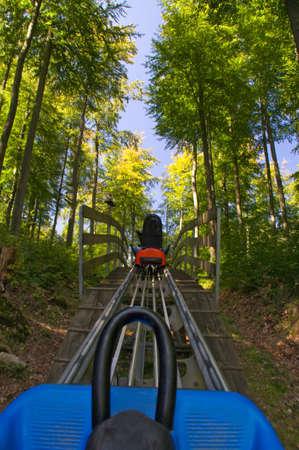 toboggan: Summer toboggan run sledding summer forest car