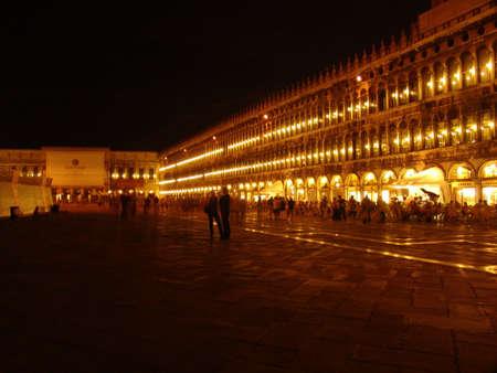 stroll: night lit stroll pedestrian streets shops hotel Stock Photo