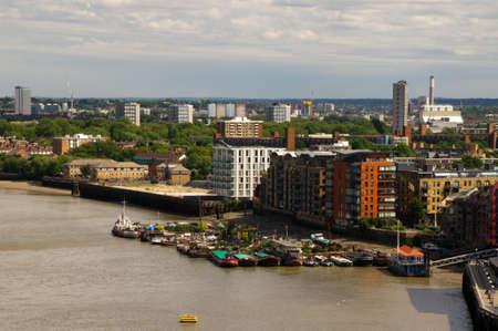 financial district: Skyline London Docklands financial district Destrict Stock Photo