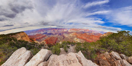 the natural phenomena: Incredible natural phenomena, clouds in the form of eye looking at the Grand Canyon. Panorama 360 degree of Grand Canyon, Arizona. Between Mother Point and Yavapai Point in Grand Canyon, USA, Arizona.