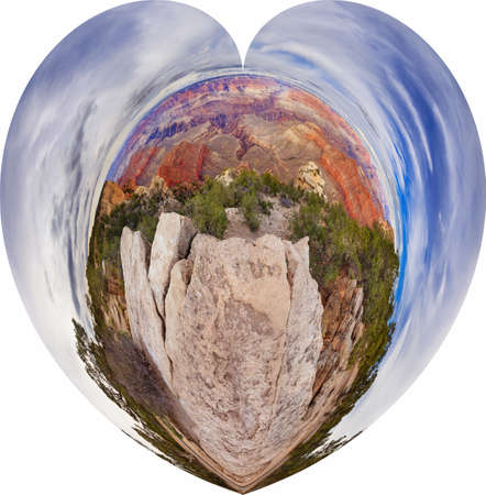 point of view: Panorama type view in a heart shape of 360 degrees on to Grand Canyon Arizona, USA. Between Mother Point and Yavapai Point view on Grand Canyon.