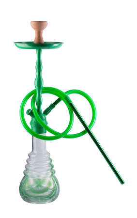 pipe smoking: Modern green hookah isolated on white background. Eastern smokable water pipe smoking on white background. Black hookah with black rubber tube and black flask isolated on white background.
