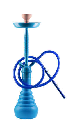Modern blue hookah isolated on white background. Eastern smokable water pipe smoking on white background. blue hookah with black rubber tube and blue flask isolated on white background. Stock Photo