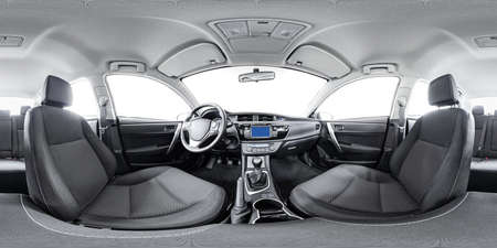 Sferisch panorama 360 binnen auto in evenwichtig panorama binnen de auto. Voertuig interieur 360 graden auto virtuele panorama voertuig interieur 360. 360 panorama van auto. Binnen auto panorama