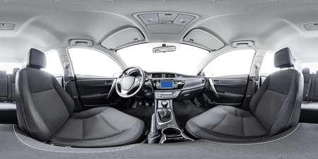 Spherical panorama 360 inside car equidistant panorama inside car. Vehicle interior panorama 360 degree of auto virtual panorama vehicle interior 360. 360 panorama of auto. Inside automobile panorama Standard-Bild