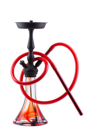 pipe smoking: Modern red hookah isolated on white background. Eastern smokable water pipe smoking on white background. red hookah with black rubber tube and black flask isolated on white background. Stock Photo