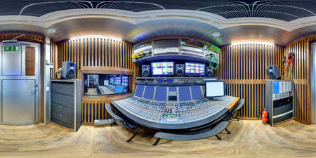 equirectangular: 3d panorama inside huge broadcast obvan sound space of audio engineer pano 360 panorama of ob van in equirectangular spherical equidistant projection sound director control module