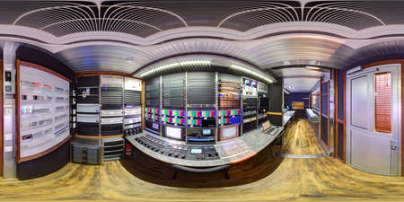 acoustics: equirectangular ob van 3d panorama station camera control module inside obvan panorama 360 inside obvan equidistant 360 panorama inside broadcast mobile television station in 3D view
