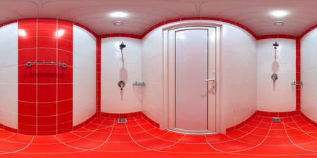 equirectangular: Shower room with shower cabins