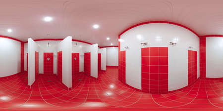 partitions: Panorama inside the complex of shower cabins 360 degrees in equidistant projection with red tiles on the floor and red with white tiles on the walls.