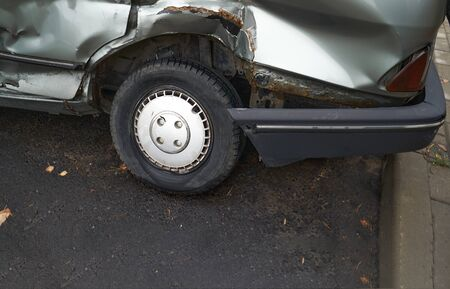 Car accident or accident. The broken parts of the car closeup.