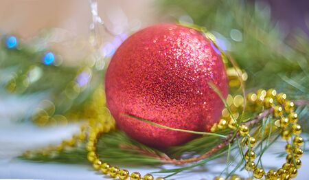 Christmas ball on abstract background Stock Photo
