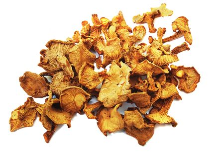 Dried chanterelles close-up on white background, isolated. Stok Fotoğraf