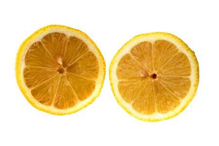 Round slices of yellow ripe lemon fruit, isolated on a white background 版權商用圖片