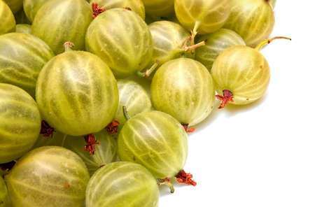 Heap of green gooseberries isolated on white background. Top view 版權商用圖片