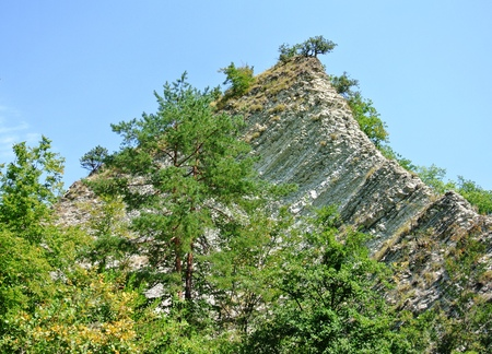 surroundings: The surroundings of the mountain river Kuago - rocky peak Tail of the Dragon Russia, Krasnodar Territory Stock Photo