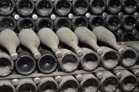 maturing: Maturing in dusty champagne bottles in wine cellars Winery in the village of Abrau Durso Krasnodar, Russia