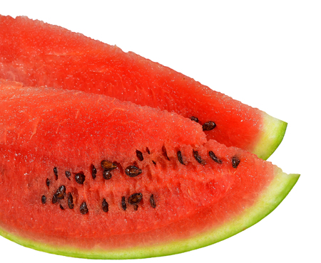 Two loaf sliced ??ripe juicy watermelon with red flesh and seeds, isolated on white background. Closeup