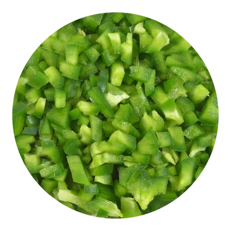 inscribed: Circle of finely chopped green bell pepper, inscribed in white square