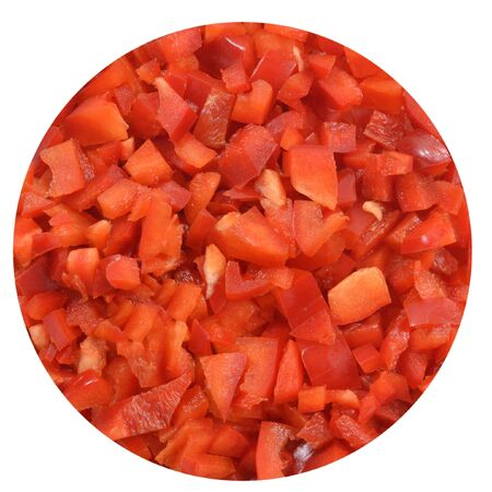 Circle of finely chopped red bell pepper, inscribed in white square