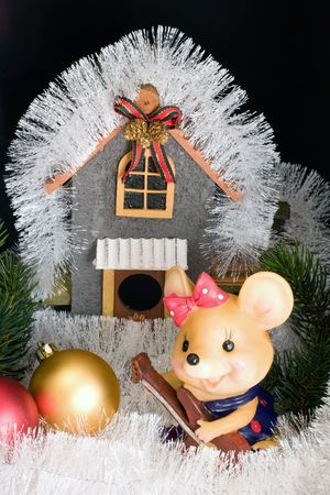 hypothec: Christmas home and mouse with guitar Stock Photo