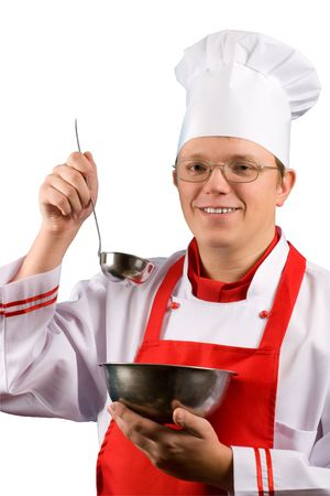 hints: Happy Proud Chef Stock Photo