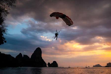skydiver landing in tonsai beach