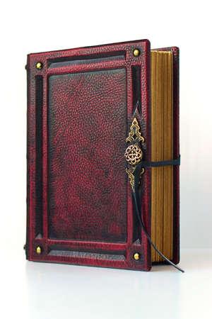 Vintage reddish leather book Archivio Fotografico