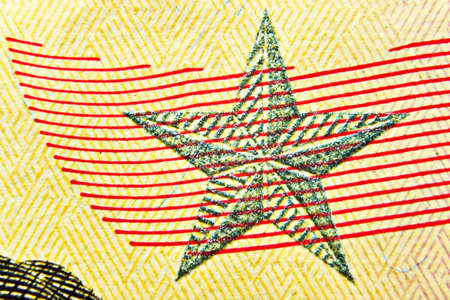 Dollar bill close up, detail with a star