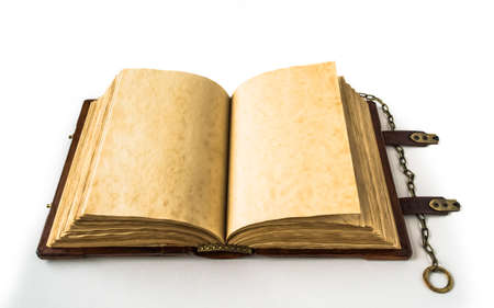 Open book on the middle with yellow aged pages and chain on the right side