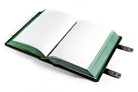 Opened book with blank white pages and paper edges toned in green color