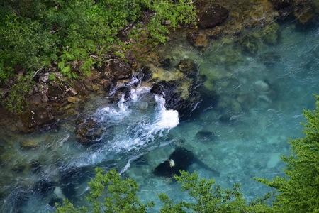 Scenic deep canyon with blue Tara river in Montenegro mountains, closeup Archivio Fotografico