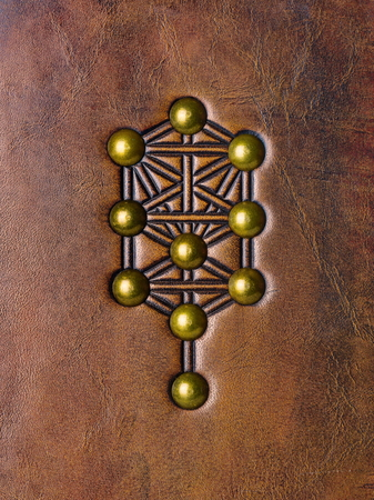 The Tree of Life, Kabbalah symbol embossed to aged brown leather