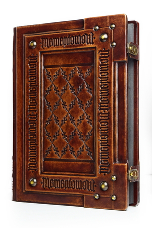 Large leather bound book with Latin text